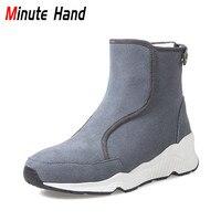 Kim phút Mới Thời Trang Genuine Leather Boots Lông Tuyết Phụ Nữ mùa đông Ấm Áp Len Khởi Động Lại Dây Kéo Giản Dị Hidden Gót Nêm giày