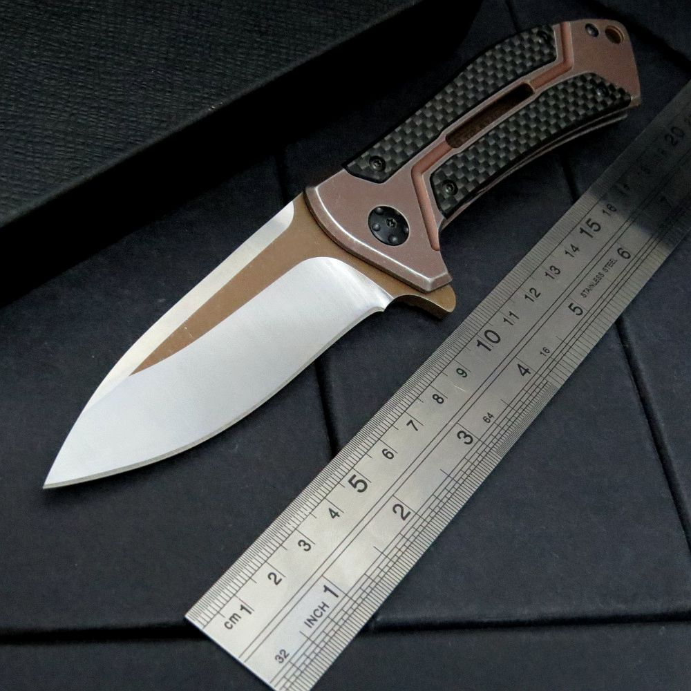 High quality 0801 Ball Bearing knife D2 Blade + Carbon Fiber Steel Handle Knife Camping Hunting EDC Outdoor Tool Knive