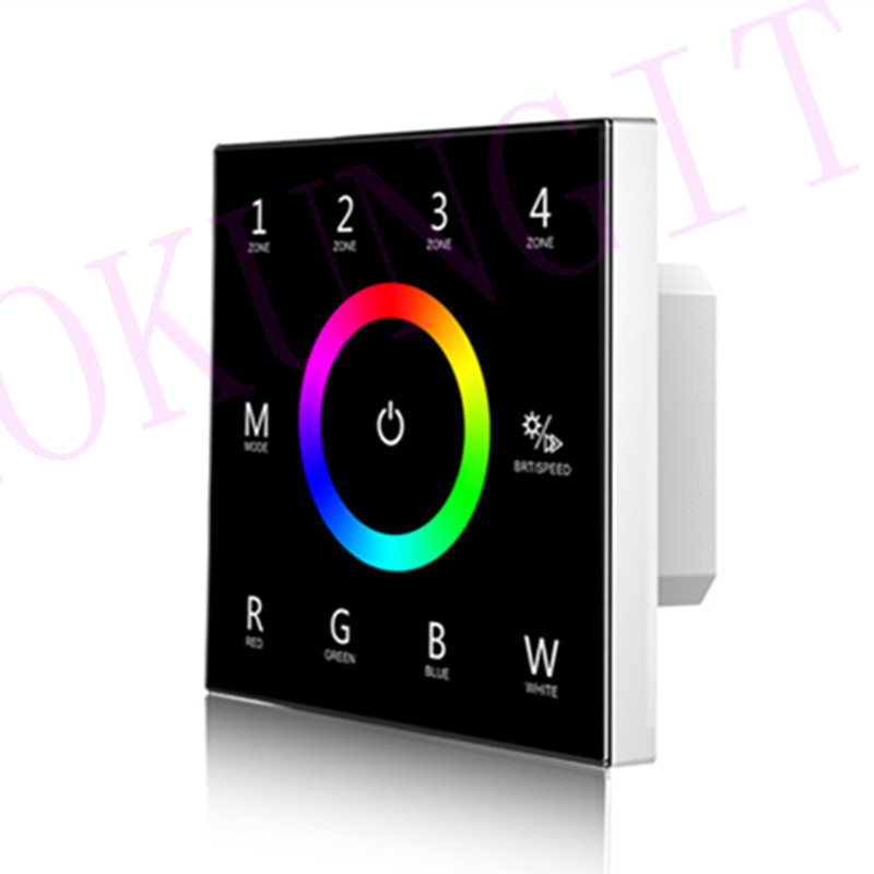 85-265VAC 4 Zones 2.4G RGBW Touch Panel Remote Control T14 DMX512 Master RGBW Control Panel 4 Zones RGBW Panel Remote Controller