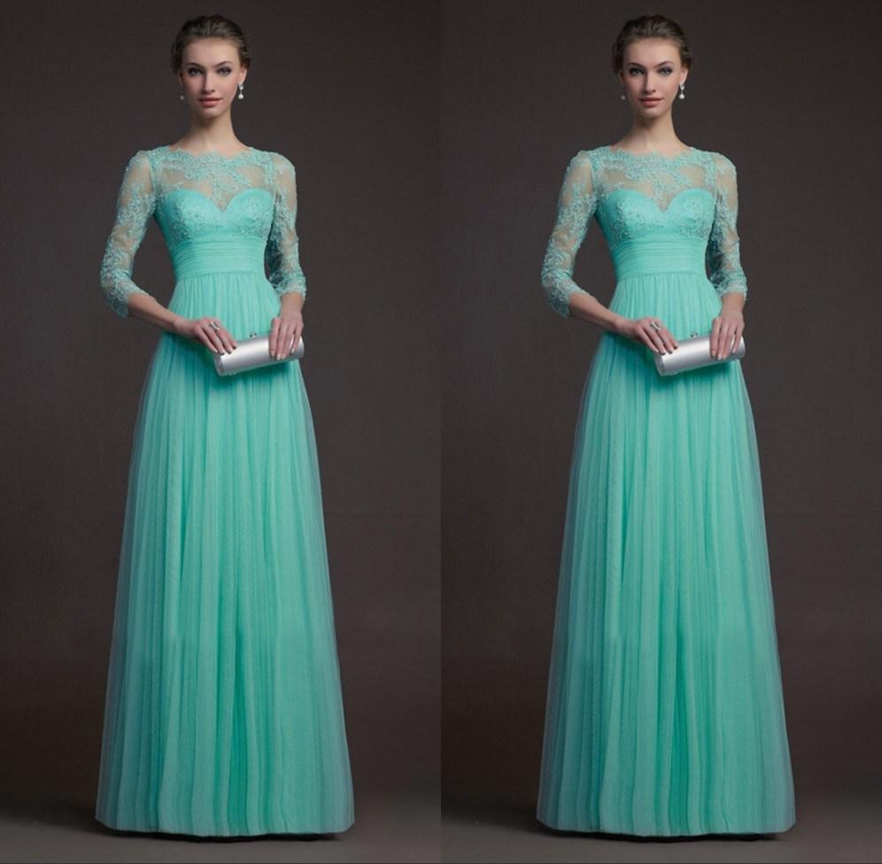 Long Sleeve Turquoise Bridesmaid Dresses vestido de festa Tulle And ...