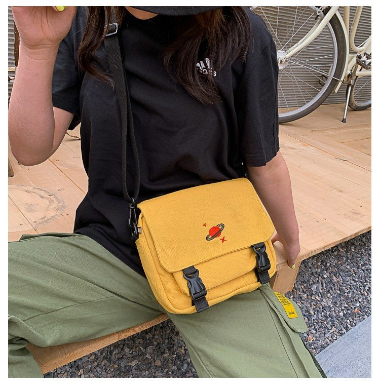Canvas Handbags For Women Embroidery Planet 2019 Summer New Hasp Creative Cartoon Shoulder Bags Universe Messenger Bags