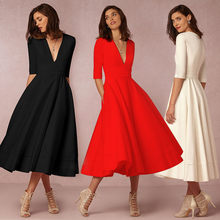 High-end autumn and winter new sexy deep V sleeve dress fashion OL women XL white wine red retro long dress vestidos de festa(China)