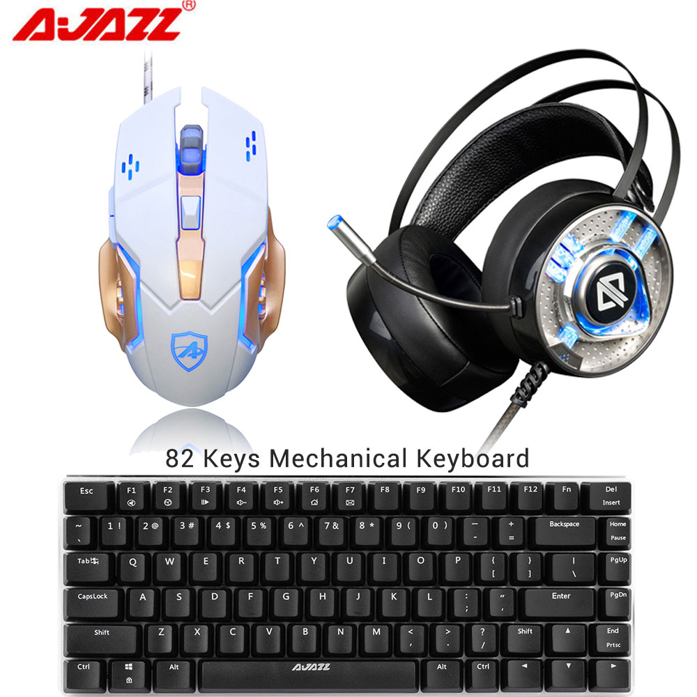 3 Combos AJAZZ 3200DPI Gaming USB Wired Mouse LED Light 6 Buttons+AX360 Gamer Headset On Ear Headphones+AK33 Mechanical Keyboard