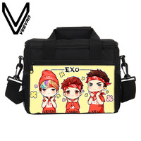 VEEVANV Cute EXO Boys Q Version Pattern 3D PU Print Food Bag Lunch Bags for Women Cooler Small PU Lunch Picnic Cooler Bags