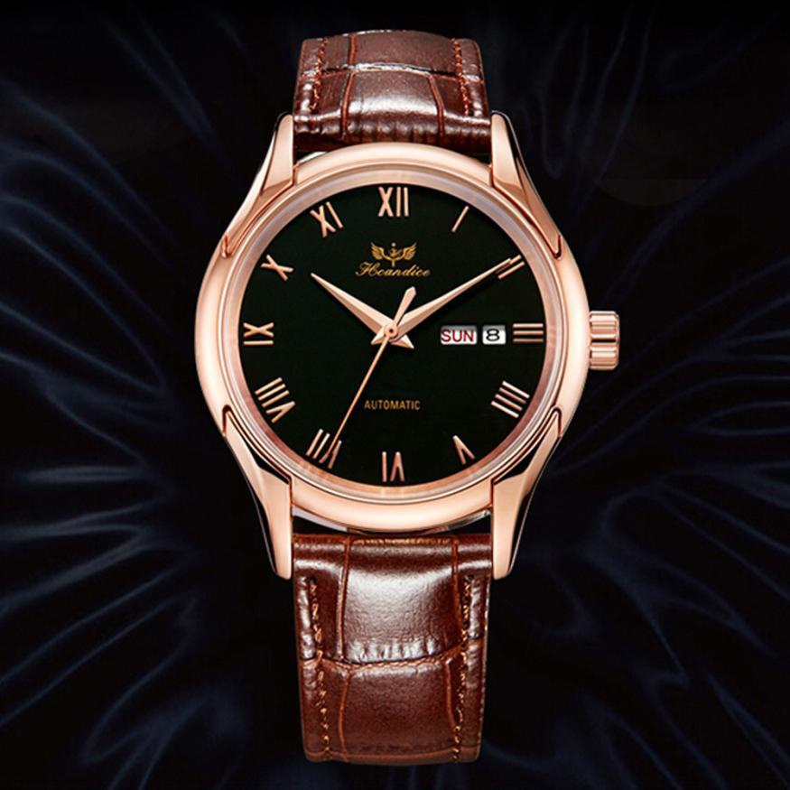 2017 Dignity 1PC font b Men s b font Hcandice Fashion Leather Band Mechanical Watch Wrist