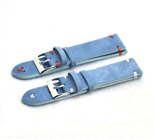 Купить с кэшбэком High Quality Genuine Leather Watch Bands Strap18mm 20mm 22mm Blue Women Men Watchbands Watch Belts with Tools Accessories KZSD01