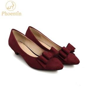 Image 1 - Женские туфли лодочки Phoentin с узлом бабочкой, на каблуке шпильке, винного цвета, с острым носком, без застежки, из искусственной кожи, FT188, весна осень