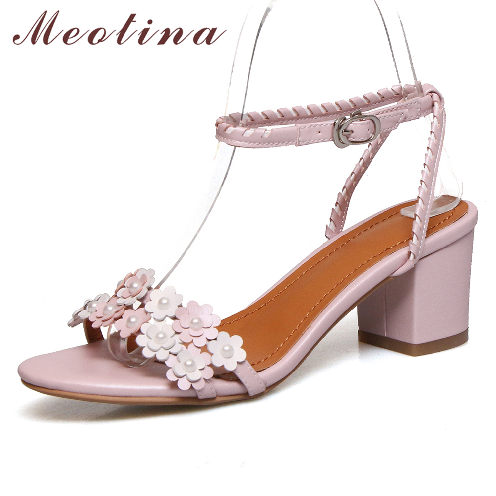 Meotina Summer Sandals Women Shoes Natural Real Leather Flower Thick High Heels Shoes Buckle Open Toe Ankle Strap Sandals 33-42Meotina Summer Sandals Women Shoes Natural Real Leather Flower Thick High Heels Shoes Buckle Open Toe Ankle Strap Sandals 33-42