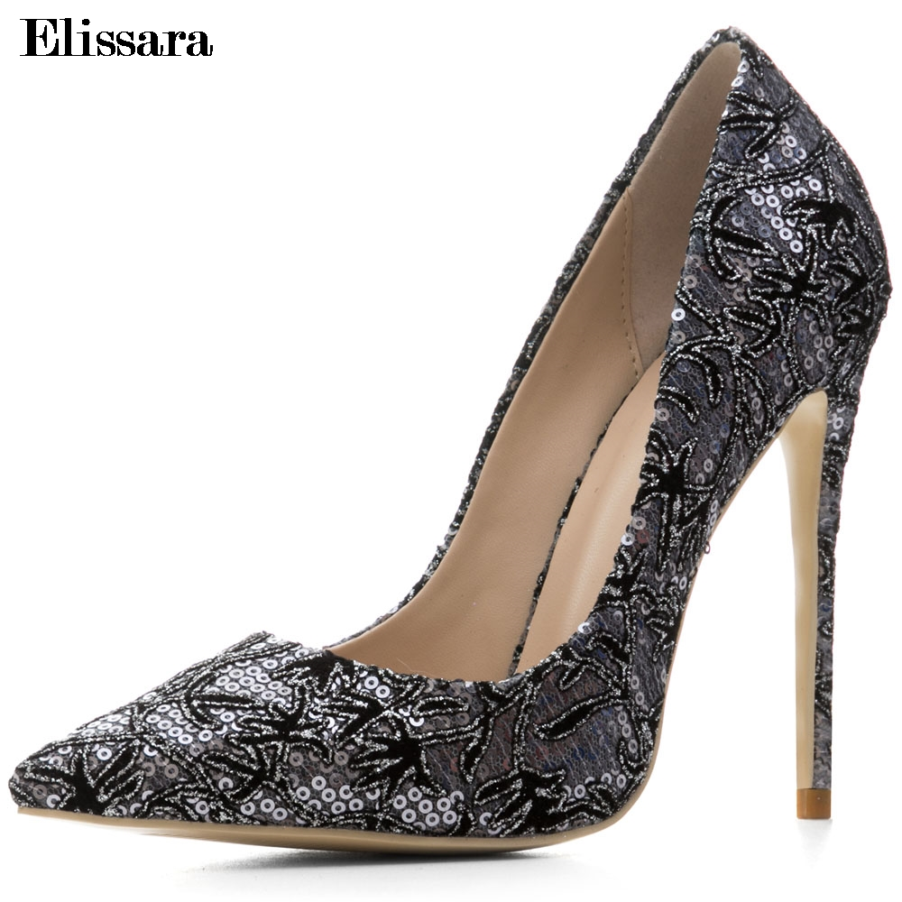 Woman High Heels Party Pumps Shoes Sexy Bling Pointed Toe Black Stiettos Womens Heels Shoes Big Size 33-45 ElissaraWoman High Heels Party Pumps Shoes Sexy Bling Pointed Toe Black Stiettos Womens Heels Shoes Big Size 33-45 Elissara