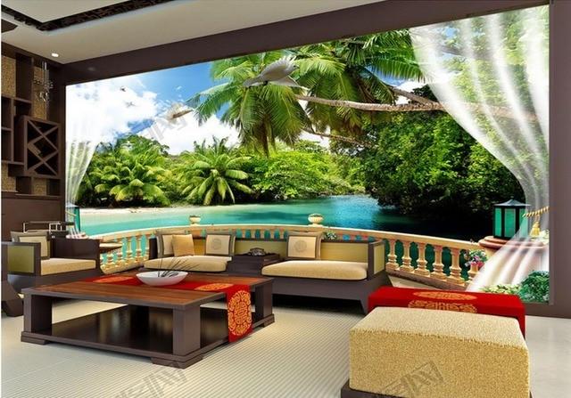 Personalizzato foto 3d murale sfondi per il soggiorno Balcone ...