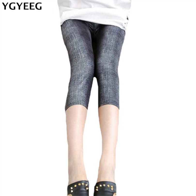YGYEEG New Arrival Summer Style High Quality Women   Leggings   Elastic Waist Denim Soft Breathable Plus Size Women's Mid-Calf Pants