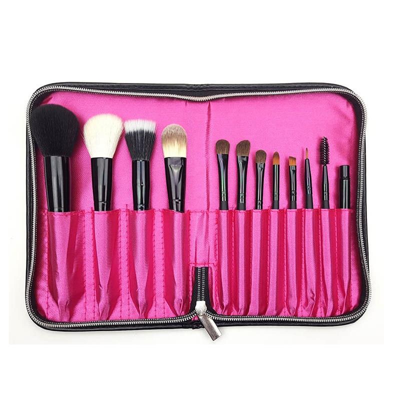 Geleerd Zwart 12 Zakken Make Borstel Houder Case Bag Rits Artist Belt Strap Cosmetische Brush Up Kwasten Pu Houder Schort Zakken