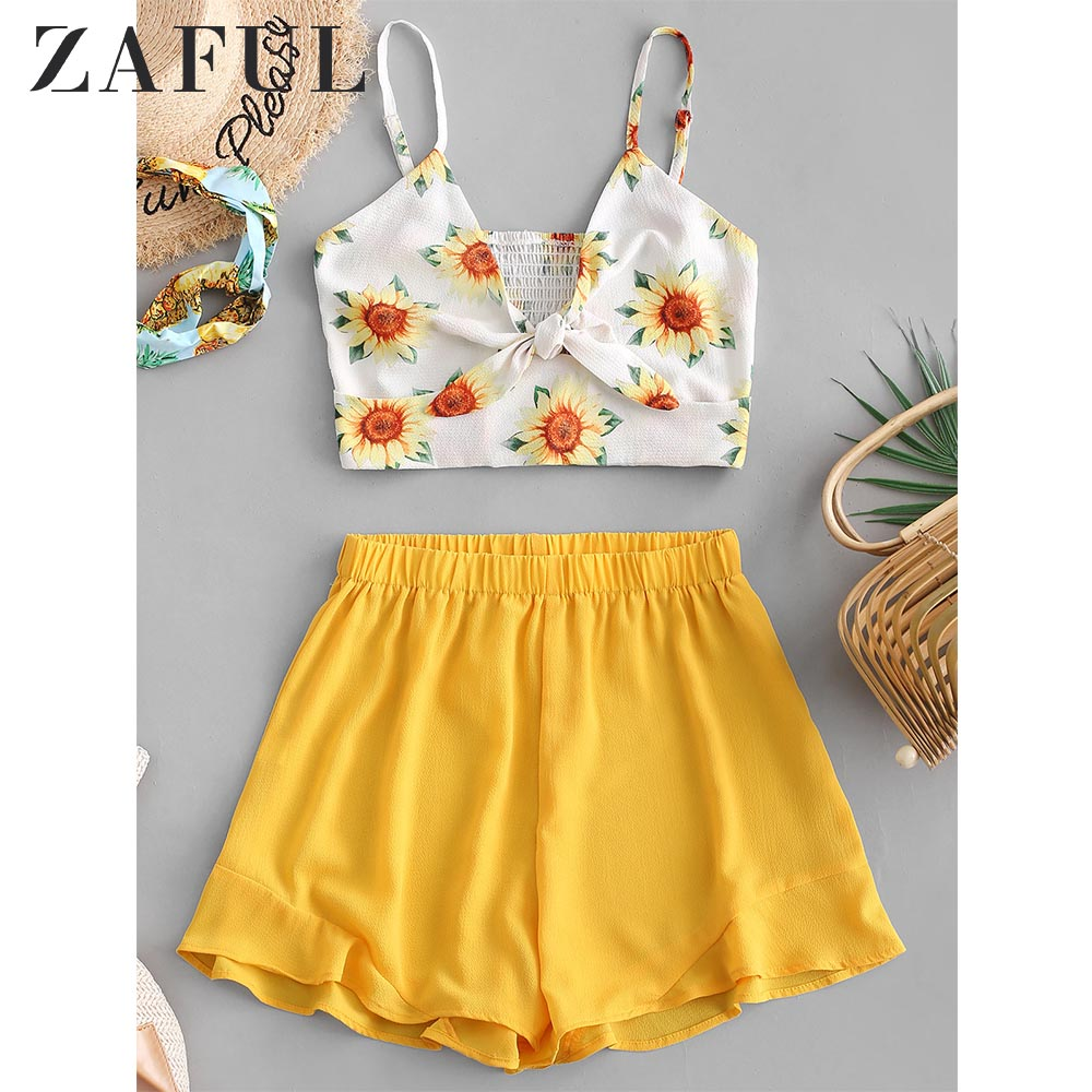 ZAFUL Knotted Sunflower Smocked Cami Top And Shorts Set High Waist Spaghetti Straps Sleeveless Two Pieces Set Women Streetwear