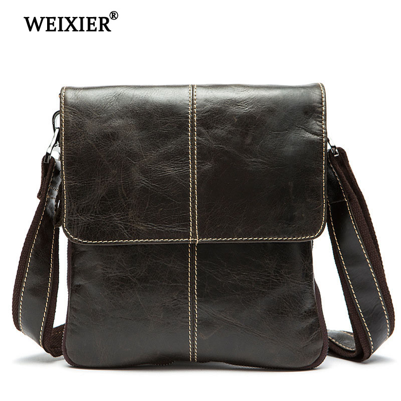 WEIXIER Casual Business Genuine Leather Men 39 s Fashion Travel Messenger Bag Classic Design Large Capacity Simple Messenger Bag in Crossbody Bags from Luggage amp Bags