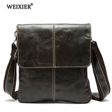 WEIXIER Casual Business Genuine Leather Mens Fashion Travel Messenger Bag Classic Design Large Capacity Simple