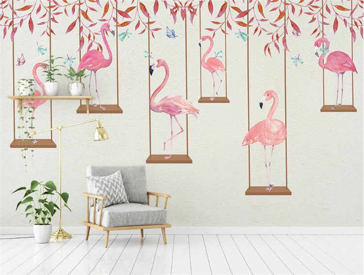 Detail Feedback Questions About Modern Minimalist Cartoon Pink Flamingo Personality Children Room Boy Background Wall Photo Living Tv