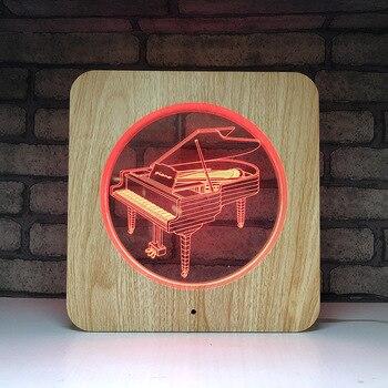 ใหม่ LED 7 สี night light สร้างสรรค์ผลิตภัณฑ์ novelty 3D สเตอริโอเปียโน
