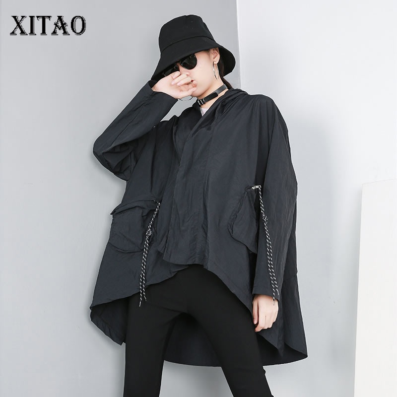 [XITAO] Europe Fashion Female Irregular Loose Coat Spring Summer 2019 New Full Sleeve Solid Color Hooded Collar   Trench   DLL2881