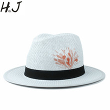 d4722af8ac5 Panama Hat For Women Summer Straw Beach Sun Hat Fashion 100% Hand Painted Flower  Lady