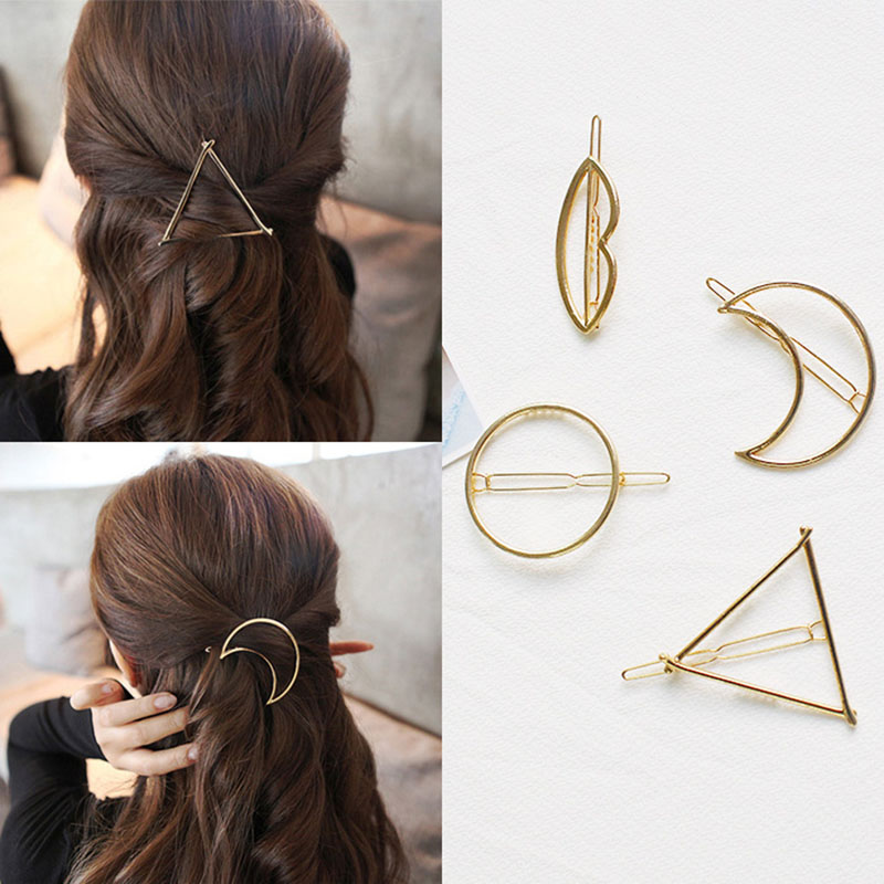Hair Clips for Women Hair Accessories Hair Clip Triangle Metal Alloy Hairband Circle Barrette Girls   Headwear   accesorios mujer