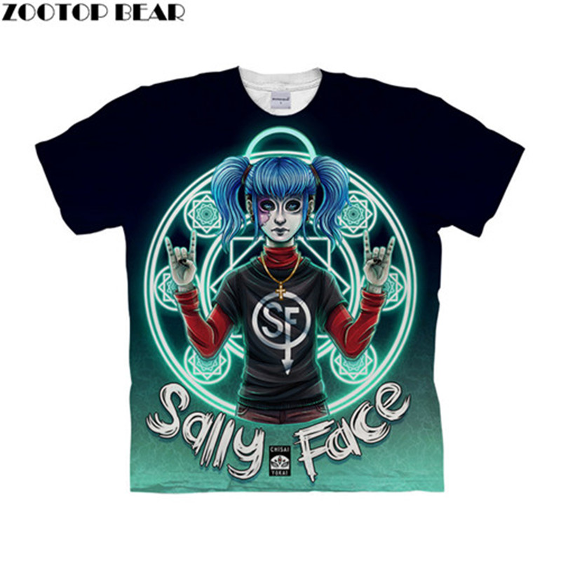 Sally Face Magic Show 3D Women t shirts Travel Summer tshirt Men t-shirt Tee Short Sleeve Shirts Streetwear Dropship ZOOTOPBEAR image