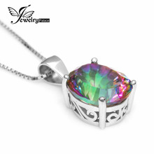 JewelryPalace 2.5ct Rainbow Fireplace Mystic Topaz Concave Oval Pendant 925 Sterling Silver Effective Jewellery For Ladies Present With out Chain
