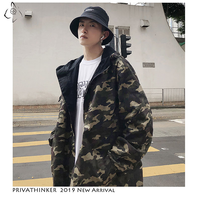 Privathinker Streetwear 2019 Man Vintage Jackets Mens Safari Style Windbreaker Jackets Male Autumn Camouflage Double-sided Wear(China)