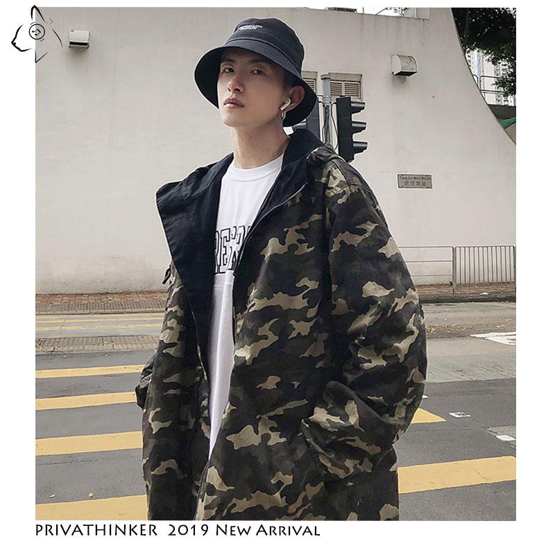 Privathinker Streetwear 2019 Man Vintage Jackets Mens Safari Style Windbreaker Jackets Male Autumn Camouflage Double-sided Wear(China)