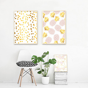 Image 4 - Golden Geometric Nordic Posters and Prints Pineapple Fruit Canvas Painting Wall Art Picture For Living Room Modern Home Decor