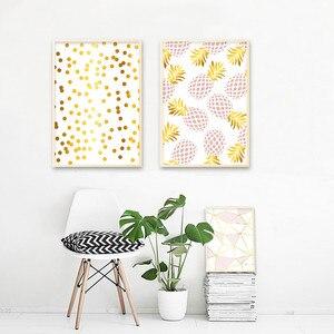 Image 4 - Złoty geometryczny Nordic plakaty i druki ananas owoce płótno malarstwo ścienne obraz sztuki do salonu nowoczesne dekoracje do domu