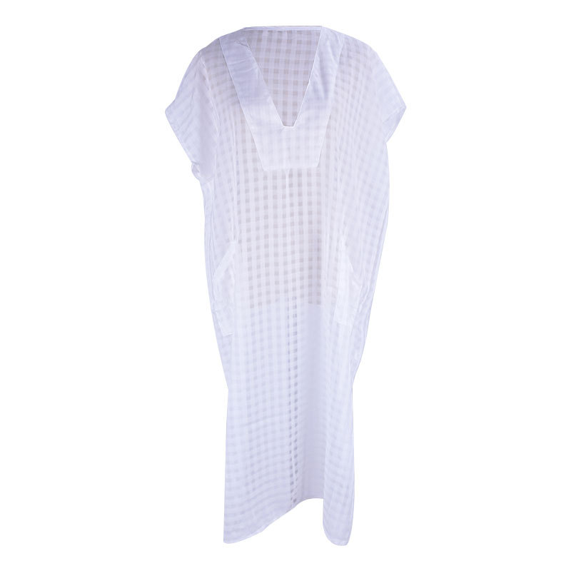 Melflow Summer White Casual Midi Dress Women Beach Cover Ups Ladies Oversize Loose Pockets Tunic Swimwear Bathing Suit Cover Up in Dresses from Women 39 s Clothing