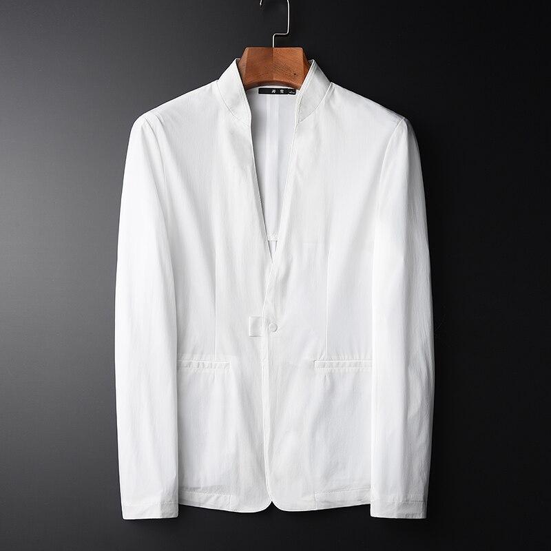 Minglu Spring New Men Fashion Casual Blazer Hight Quality Thin Fabric Sun protective White Stand Collar Slin Fit Men Jacket 4XL