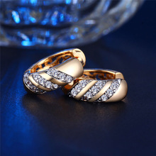 MISANANRYNE Classic Design Gold Color AAA CZ Wedding Hoop Earrings for Women Fashion jewelry Design Gift Accessories