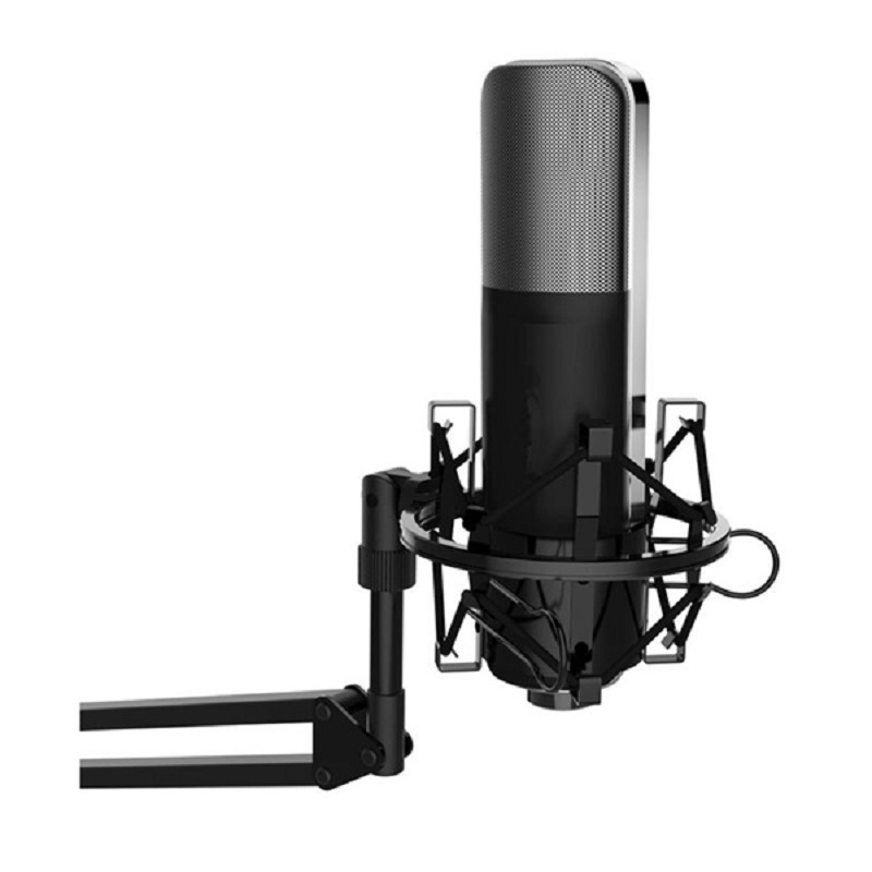 цена на Professional Mic Cardioid Condenser Studio Microphone Tabletop with Shock Mount for YouTube for Recording Singing Broadcasting