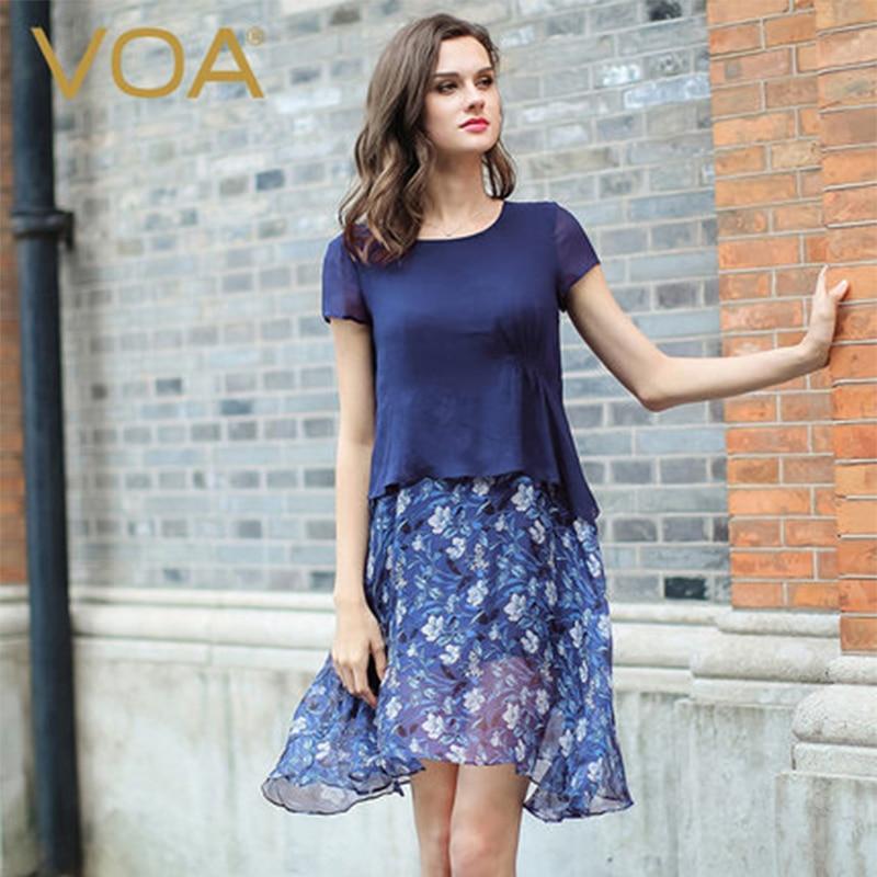 VOA 2017 летнее шифоновое платье с цветочным рисунком, женское тонкое платье из двух частей, шелковое платье Жоржет, короткий рукав, принт, а сил