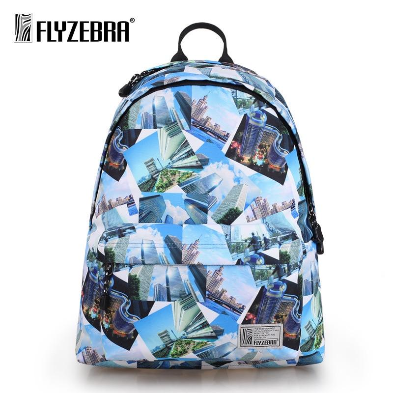 Flyzebra casual menbackpack Korean printed backpack fresh women high capacity Student computer bags Preppy City Style Backpack