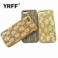 Newest Lovely Cartoon Octopus Traditional Bamboo Sculpture Wood Phone Cases For Iphone 5 5S 5G Back
