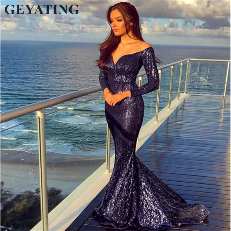 Rose Gold V-neck Off Shoulder Sequin Mermaid Prom Dresses with Long Sleeve Navy Blue Evening Gown Maxi Women Party Formal Dress  1