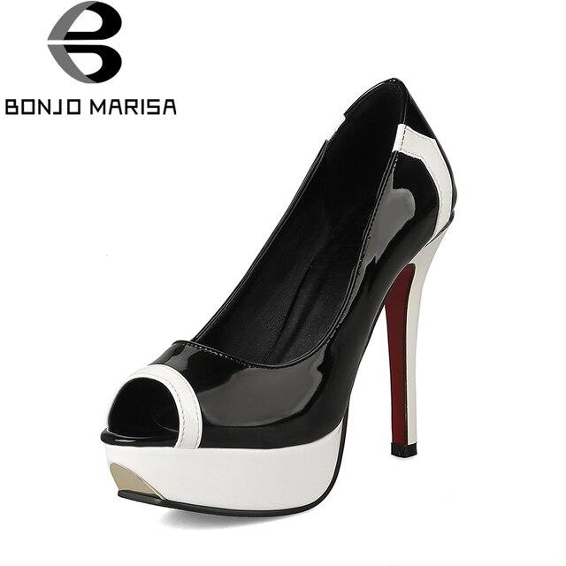 BONJOMARISA גדול גדלים 32-43 רטרו סופר גבוהה עקבים שחור לבן נשים נעלי פלטפורמת מסיבת תאריך פיפ הבוהן משאבות אישה נעליים