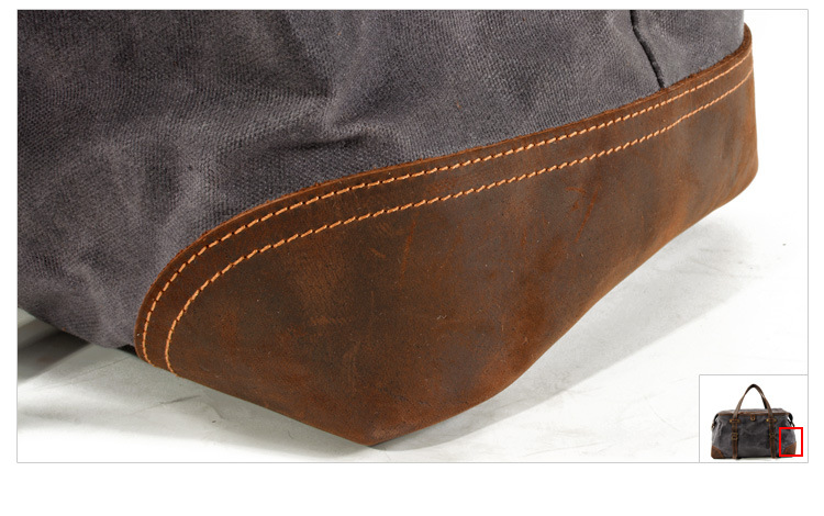 leather bottom details of the satchel duffle bag from Eiken