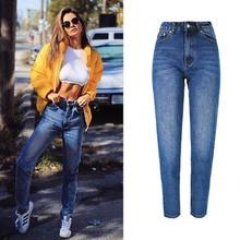 BellFlower Хлопок с высокой талией Синие джинсы женские брюки Повседневная Свободные карманные джинс
