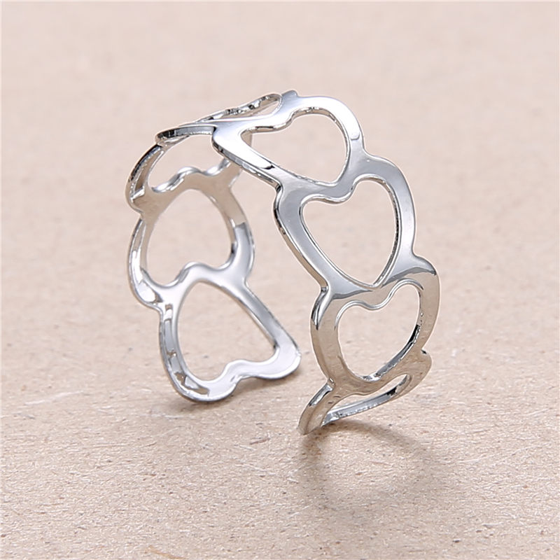 19 New Fashion Silver Hollow Heart-Shaped Opening Ring For Women Punk Alloy Finger Rings Simple Boho Jewelry 1
