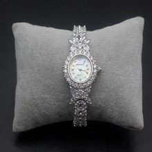 цены Xmas Gift Wristwatches Sterling Silver White Topaz Fit Prom Dresses Fashion Watch 8 inch Free Shipping HS0013W