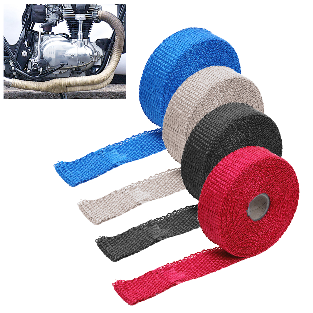 4 Colors Universal Car Motorcycle IncombustibleTurbo Manifold Heat Exhaust Wrap Tape Thermal Stainless Ties 1.5mm*25mm*5m New
