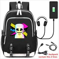 DJ Marshmello Guy School Bag for Teenager Boys and Girls Kids Personized Schoolbag Marshmallow face Smile Hip hop Funny Backpack