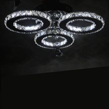 New LED Three rings Ring Chandeliers Chrome color Stainless Steel Room Hanging Lamp LED Chandelier Lustres Living room lamps