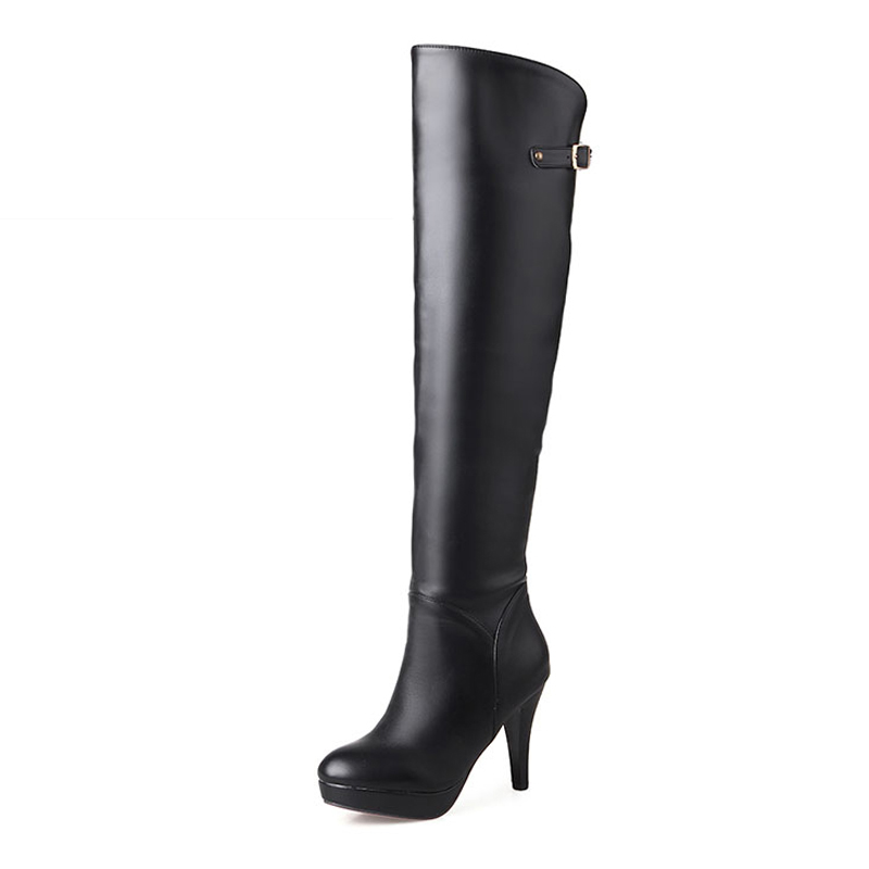 Super Big Size 34-46 Fashion Add Fur Over The Knee Winter Boots Buckle Charm Platform Shoes Woman Elegant High Heels Women Boots size 34 42 high quality women knee boots add fur buckle charm thick heels fashion winter boots platform skid proof shoes woman