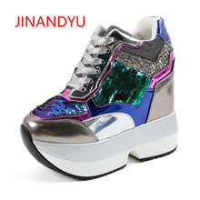 New Fashion Glitter Women's Casual Platform Wedges Shoes Ladies golden Lace Up Footwear Female Wedges High Heels Shoes for Woman