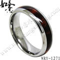 Free Shipping  Tungsten Carbide Ring  with Dark Real wood inlaying Fashion Jewelry Ring for Women 6mm