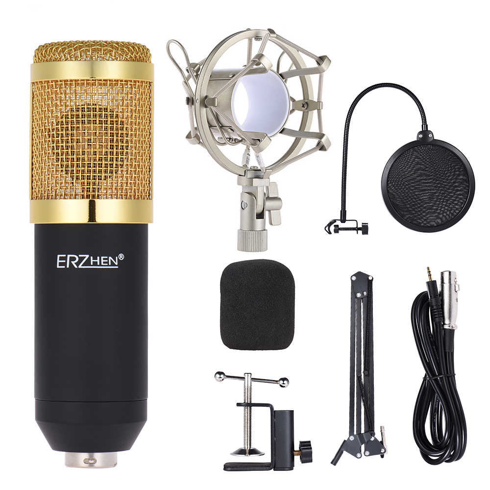 Professional Studio Broadcasting Recording Condenser Microphone Mic Kit Set 3.5mm with Shock Mount Adjustable